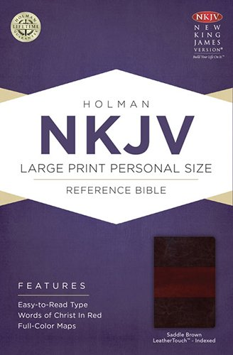 9781433613098: NKJV Large Print Personal Size Reference Bible, Saddle Brown LeatherTouch Indexed