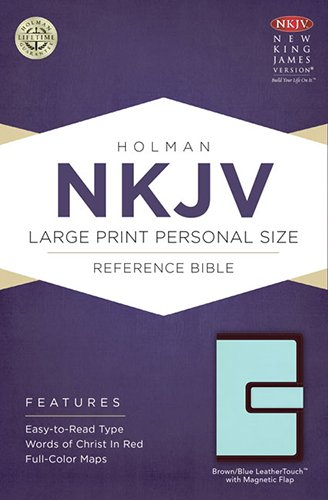 9781433613142: NKJV Large Print Personal Size Reference Bible, Brown/Blue LeatherTouch with Magnetic Flap