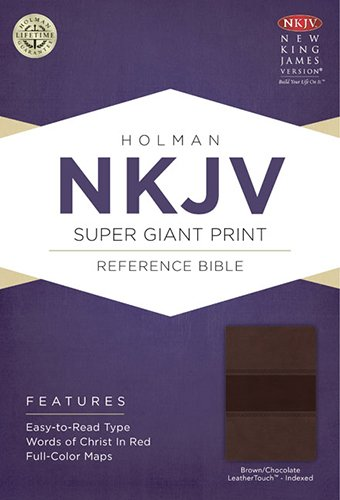 9781433614118: NKJV Super Giant Print Reference Bible, Brown/Chocolate LeatherTouch