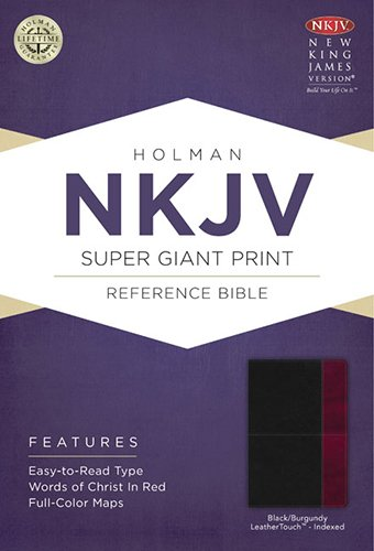 9781433614200: NKJV Super Giant Print Reference Bible, Black/Burgundy LeatherTouch Indexed