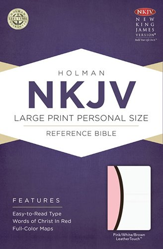 NKJV Large Print Personal Size Reference Bible, Pink/Brown/White LeatherTouch