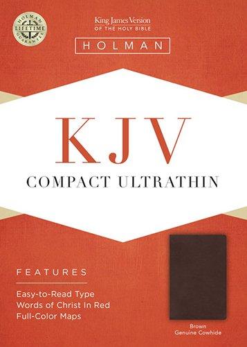 KJV Compact Ultrathin Bible, Brown Genuine Leather