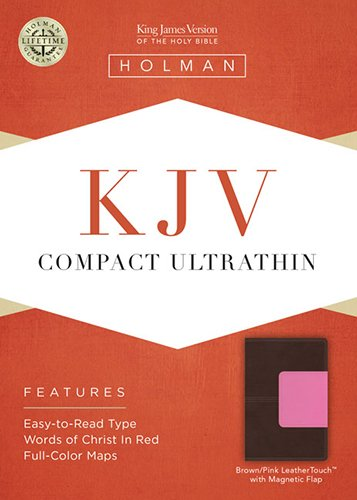 9781433614743: KJV Compact Ultrathin Bible, Brown/Pink LeatherTouch with Magnetic Flap