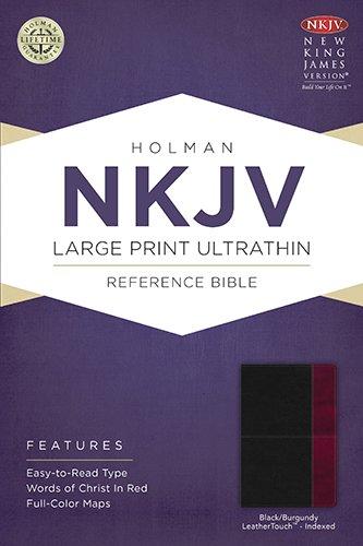 NKJV Large Print Ultrathin Reference Bible, Black/Burgundy LeatherTouch Indexed