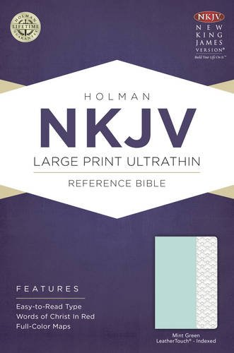 NKJV Large Print Ultrathin Reference Bible, Mint Green LeatherTouch, Indexed