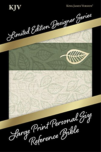 9781433619434: KJV Large Print Personal Size Reference Bible, Designer Series, Linen Leaves, LeatherTouch