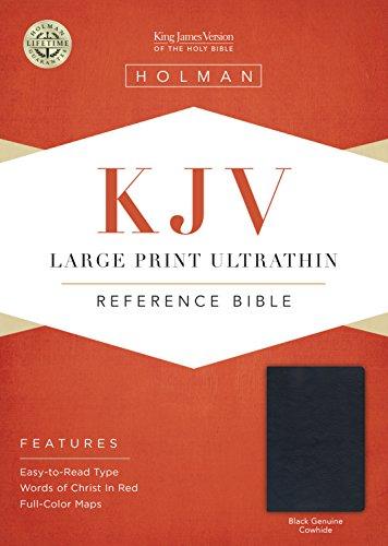 KJV Large Print Ultrathin Reference Bible, Black Genuine Leather (Leather)