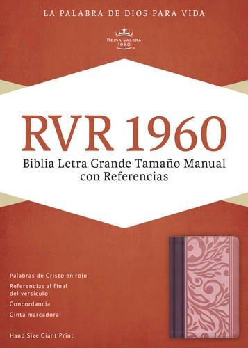 RVR 1960 Biblia Letra Grande Tamaño Manual con Referencias, borravino/rosado sí...