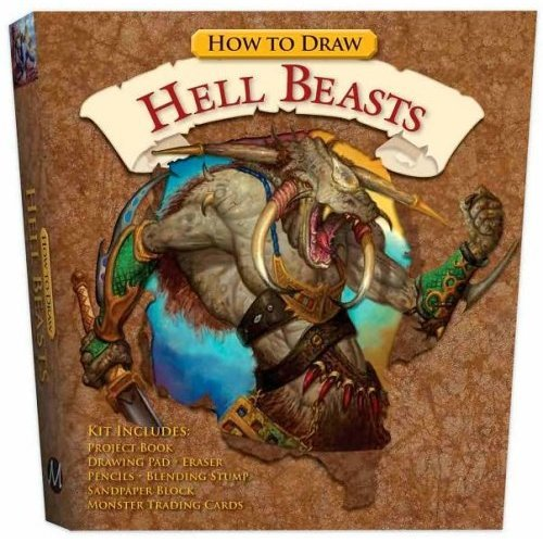 9781435111707: How to Draw Hell Beasts Kit: Project Book, Drawing Pad, Eraser, Pencils, Blending Stump, Sandpaper Block, Monster Trading Cards