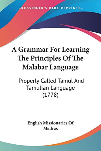 A Grammar for Learning the Principles of: English Missionaries of