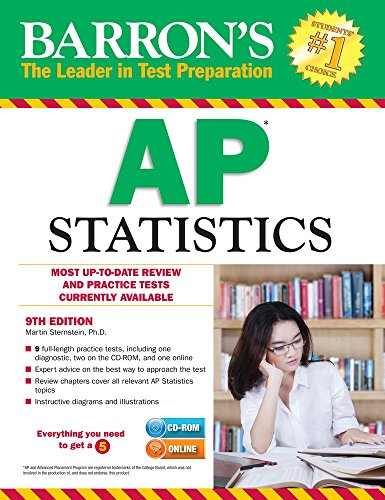 9781438077123: Barron's AP Statistics with CD-ROM, 9th Edition