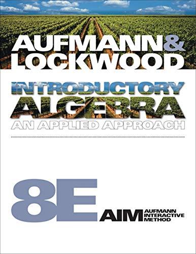 Introductory Algebra: An Applied Approach (Available Titles: Aufmann, Richard N.,