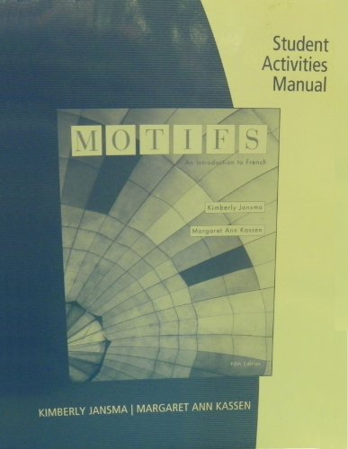 9781439081884: Student Activities Manual for Jansma/Kassen's Motifs