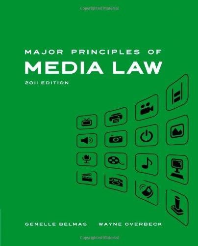 9781439082812: Major Principles of Media Law, 2011 Edition