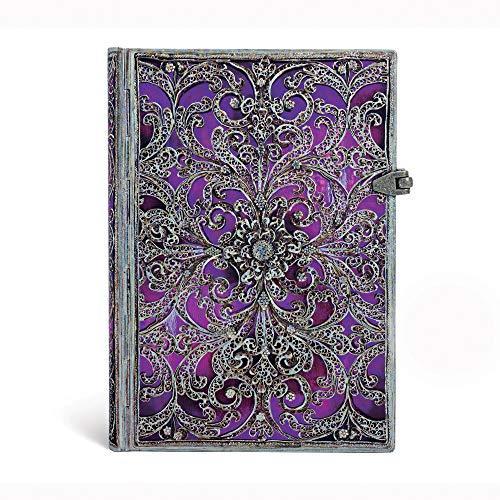 9781439728918: Aubergine Midi Lined Notebook (Silver Filigree Collection)