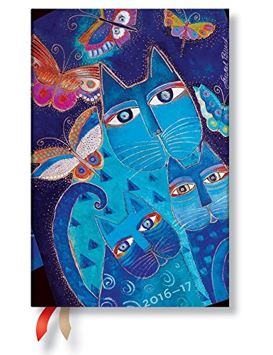 9781439732779: 2017Paperblanks Blue Cats and Butterflies Mini Diary 100x 140mm-1Week on 2Pages Horizontal