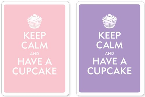 Keep Calm and Have a Cupcake Premium Plastic Playing Cards: Set of 2, Standard Index, Poker Size: ...