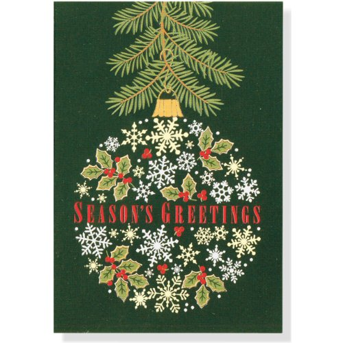 9781441311825: Holly and Snowflake Ornament Small Holiday Cards: Gold Foil [With 21 Envelopes]