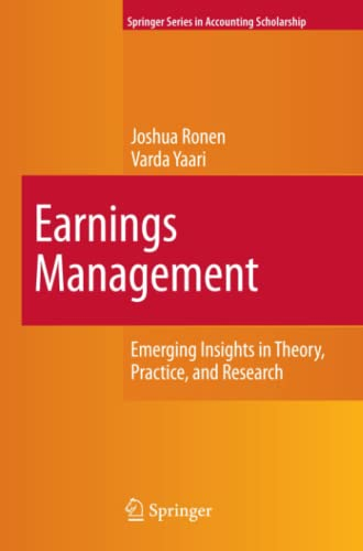 9781441938350: Earnings Management: Emerging Insights in Theory, Practice, and Research (Springer Series in Accounting Scholarship)