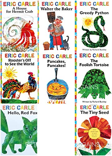 9781442473072: The Eric Carle Library Featuring 8 Classic Board Books Boxed Set [The Greedy Python, The Foolish Toroise, Rooster's Off to See the World, Walter the Baker, A House for Hermit Crab, Pancakes Pancakes!, Hello Red Fox, The Tiny Seed]
