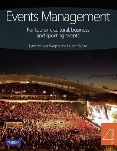 Events Management: For tourism, cultural, business and: Van Der Wagen,