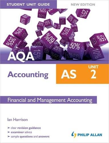 9781444171433: AQA AS Accounting Student Unit Guide New Edition: Unit 2 Financial and Management Accounting
