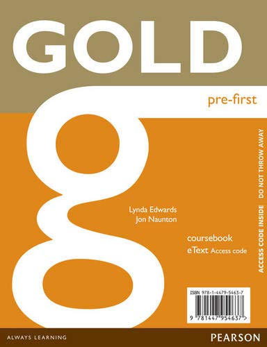 9781447954637: Gold Pre-First eText Coursebook Access Card