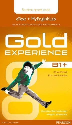 9781447978923: Gold Experience B1+ eText & MyEnglishLab Student Access Card