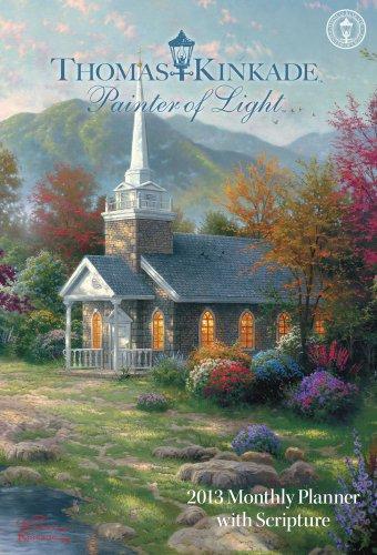 Thomas Kinkade Painter of Light with Scripture 2013 Large Monthly Planner Calend: Thomas Kinkade