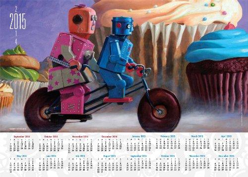9781449458119: Eric Joyner Robots 2014-15 16-Month Calendar Poster