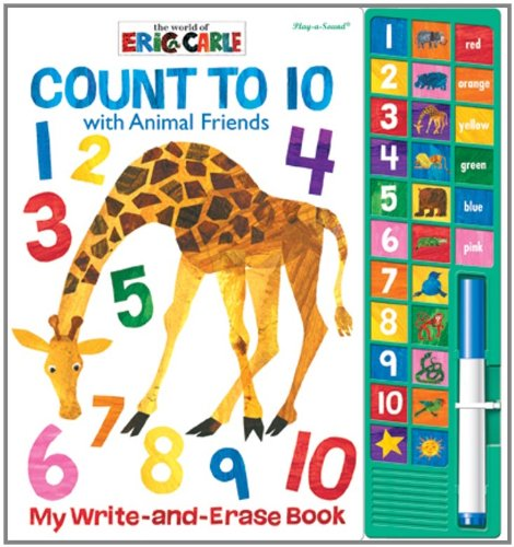 9781450813730: Eric Carle: Count to 10 with Animal Friends Write and Erase Book: Play-a-Sound