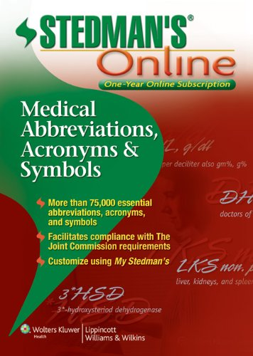 Stedman's Medical Abbreviations Online (9781451127669) by Stedman's