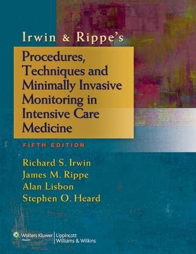 9781451146813: Irwin & Rippe's Procedures, Techniques and Minimally Invasive Monitoring in Intensive Care Medicine