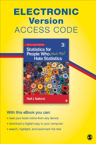 9781452277295: Statistics for People Who (Think They) Hate Statistics Electronic Version: Excel 2010 Edition