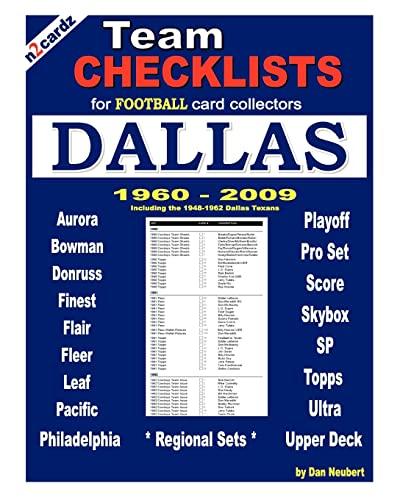 9781452809953: Team Checklists For Football Card Collectors DALLAS (N2cardz)