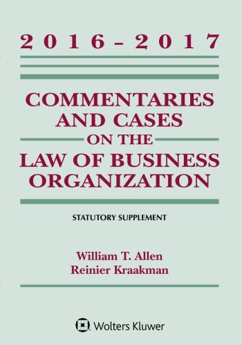 Commentaries and Cases on the Law of: William T Allen,