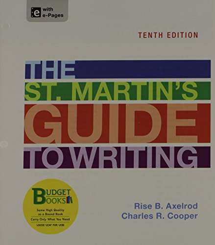 9781457640810: Loose-leaf Version for The St. Martin's Guide to Writing (Budget Books)