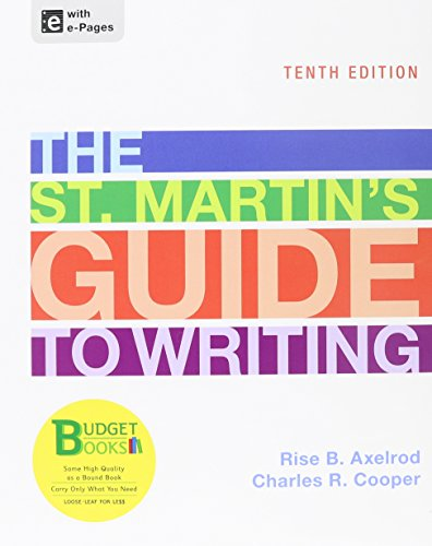 Loose-leaf Version of St. Martin's Guide 10e & Sticks and Stones 8e (Budget Books) (1457654377) by Axelrod, Rise B.; Cooper, Charles R.