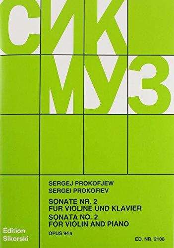 Sonata No. 2, Op. 94a: Violin and Piano: Sikorski