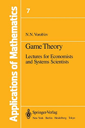 9781461263432: Game Theory: Lectures for Economists and Systems Scientists (Stochastic Modelling and Applied Probability)