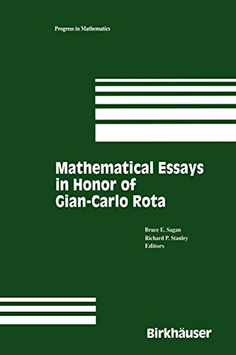 9781461286561: Mathematical Essays in honor of Gian-Carlo Rota (Progress in Mathematics)