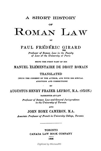 9781462203352: A Short History of Roman Law: