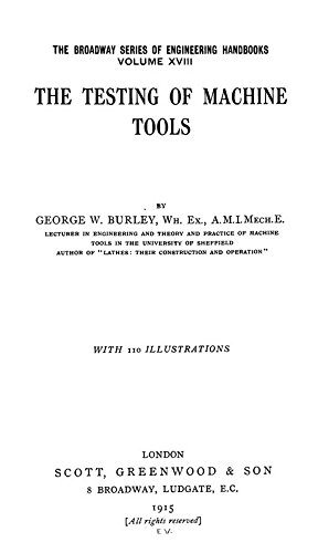 9781462221066: The Testing of Machine Tools: