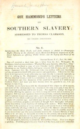 9781462233892: Gov. Hammonds Letters on Southern Slavery: