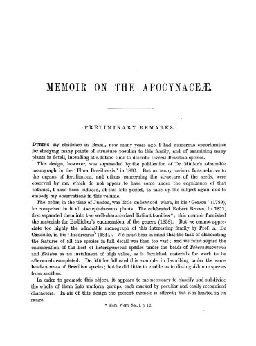 9781462246946: On the Apocynaceae of South America With Some Preliminary Remarks on the Whole Family