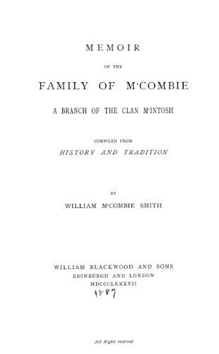 9781462247578: Memoir of the Family of M'Combie