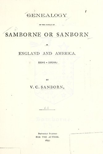 9781462250851: Genealogy of The Family of Samborne or Sanborn in England and America. 1194-1898