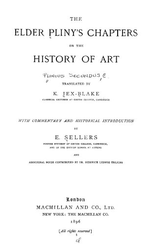 9781462258536: The Elder Pliny's Chapters on the History of Art