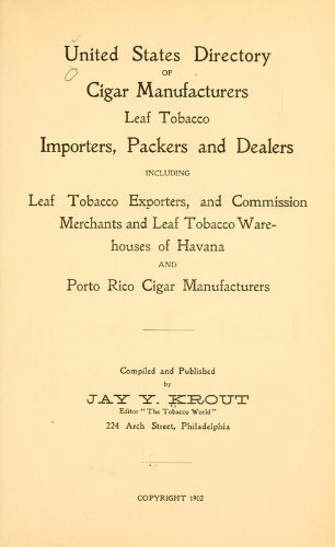 9781462262311: United States Directory of Cigar Manufacturers, Leaf Tobacco Importers, Packers and Dealers