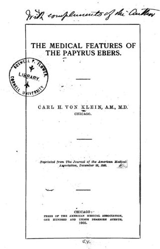 9781462273027: The Medical Features Of The Papyrus Ebers